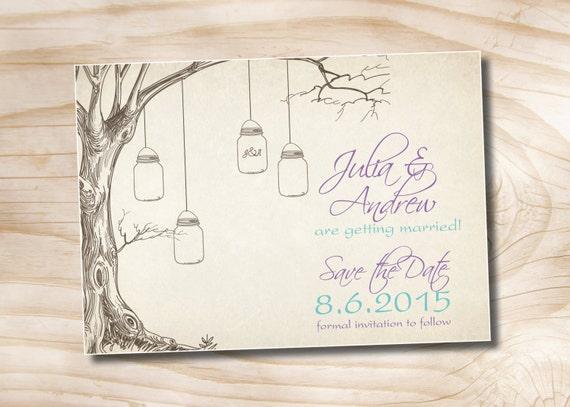 VINTAGE TREE Mason Jar Wedding Save the Date- You Print, DIY, Digital File