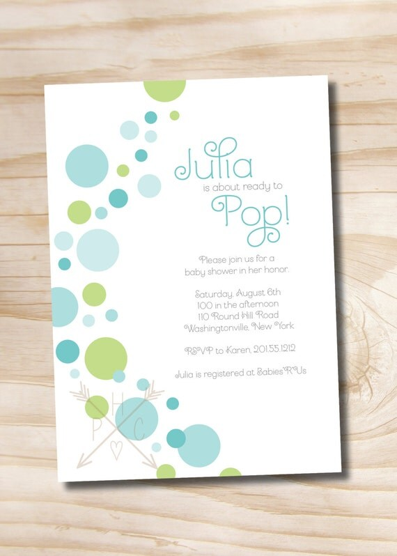 ready to pop baby shower invitation printable digital file or