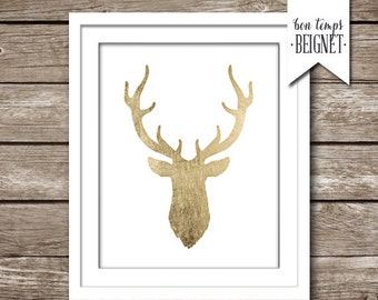 """Deer Silhouette - 8x10"""" Gold Foil Look - Instant Download - Woodland - Whimsical - Printable Art"""