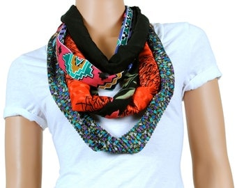 Scarf - Infinity Scarf - Womens Chunky Pear and Aztec Printed Scarf