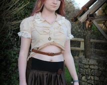 Steampunk blouse top, Victorian vintage style shirt with leather belt Size small - medium