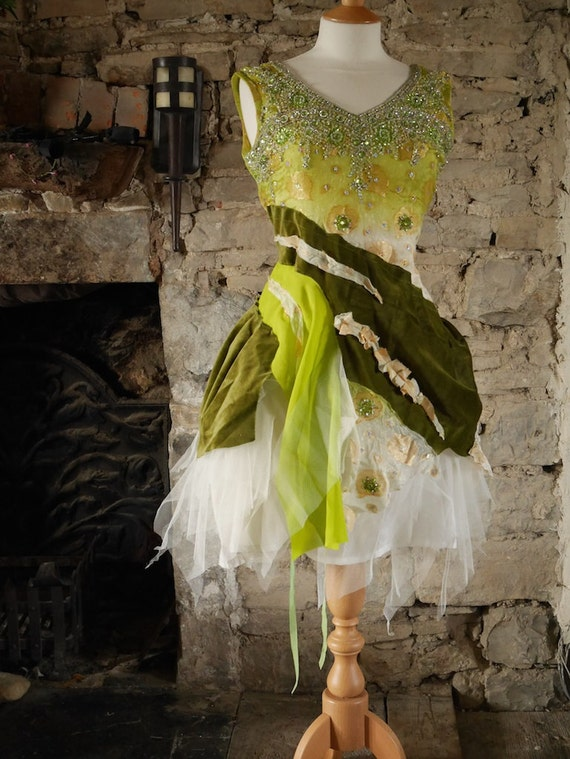 Green fairy dress Woodland wedding dress Tinkerbell or