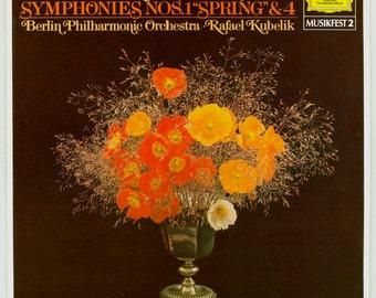 Spring Robert Schumann Symphony Nos. 1 and 4 Berlin Philharmonic Orchestra, Rafael Kubelik Vintage Vinyl Record Album Deutsche Grammophon LP