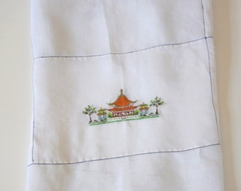 Vintage Square Embroidered White Chinoiserie Pagoda Tablecloth