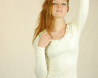 Long Sleeve Fitted Top - Ruffled Neckline - Ruffle - Organic Clothing - Eco Friendly - White - Natural Color