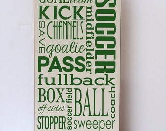Soccer Wood Sign, Soccer Subway Art, Gift for Soccer Player, Soccer Gift, Sports Theme Wall Art, Sports Wall Art, Sports Decor, Child Room