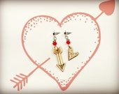 Wooden Heart and Arrow Earrings with Red Beads - The Love Story Collection