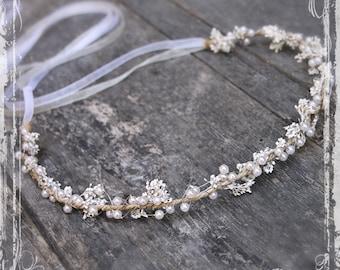 Blossom And Pearl Head Wreath - Wedding Halo - Flower Crown Accessories - Weddings, Festival, Faire - Flower Girl, Bridal - Harajuku