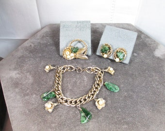 Vintage Signed Kramer Authentic Jade Charm Bracelet, Brooch and Earrings, Beautiful Jade, Signed Kramer on the Earrings