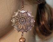 Copper Dangle Jingle Bell Earrings Gypsy Boho Hippie Style flower sunburst