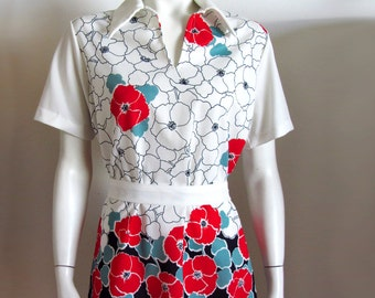 vintage 70s top blouse poppy print m/l