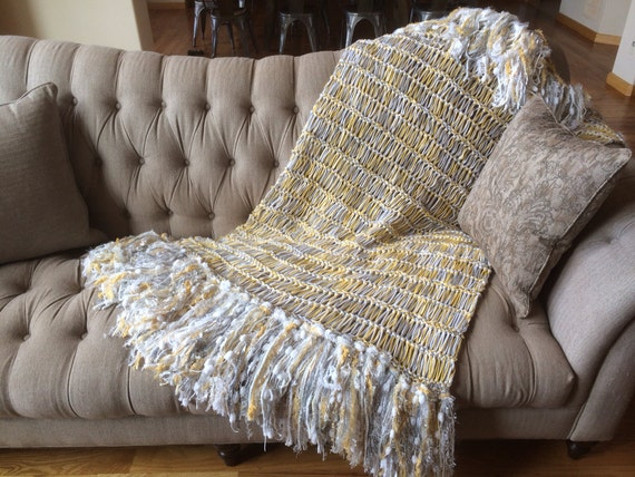 Yellow Gray Nursery Baby Blanket Large Throw For Gray Yellow
