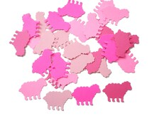 100 Mixed Pink Sheep Confetti, Mary Had a Little Lamb Birthday Party Decorations - No113