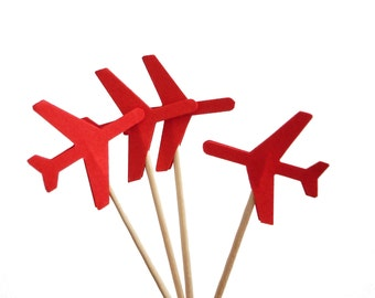 24 Red Airplane Cupcake Toppers, Plane Food Picks, Airplane Birthday Party Decorations - No460