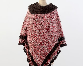 knit poncho, vintage hand-knit poncho sweater