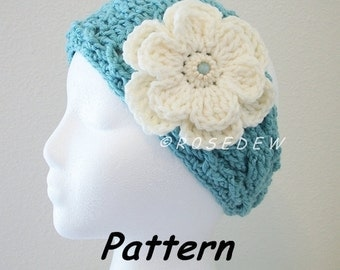 Instant Download to PDF Crochet PATTERN: The New Twist Headband with Two-Layered Flower