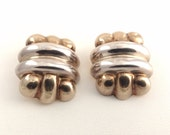 Vintage Steven Vaubel Silver & Gold Love Knot earrings - Vermeil - runway - signed - bold - statement suit - clips clipon clip on earrings