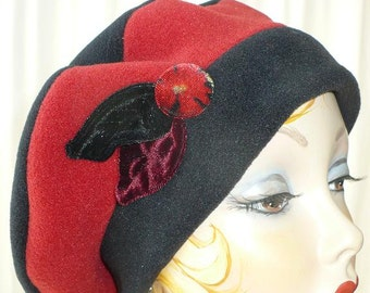 Women's Black and Brick Red Fleece Beret with Handmade Velvet Leaves and Button