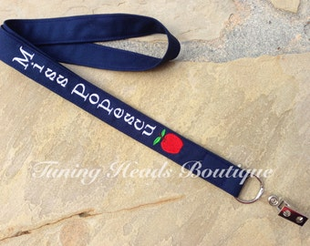 Teacher Lanyard ID Badge Holder with APPLE / Personalized / Monogrammed / Teacher Appreciation Gift