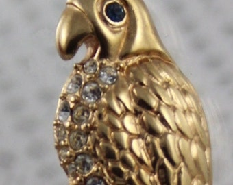 Eye Catching Krementz Gold Plated & Rhinestone Parrot Brooch