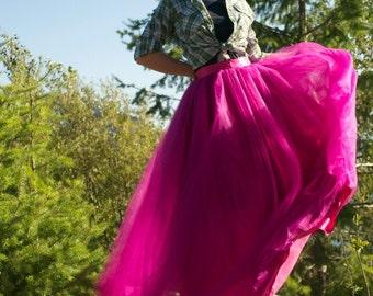 Maxi Tulle Skirt by Kellie Falconer // Full Length Special Occasion Tulle Skirt // Flat Waistband // Maxi Hem