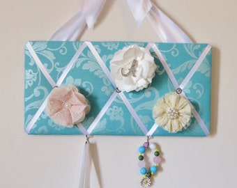 READY TO SHIP, Girls Original French Bow Board Organizer  - Turquoise with Shimmer and White
