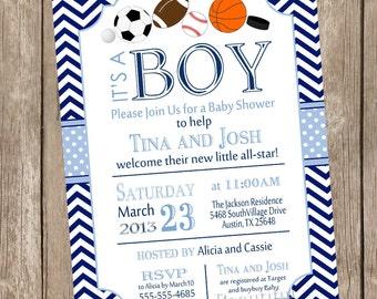 All Star Sports Baby Shower Invitation, allstar baby shower invitation, football, soccer, baseball, basketball, gray, navy, chevron, as1