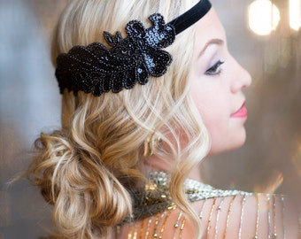 Gatsby Headband, Black Beaded Headband, 1920s Headpiece, Flapper