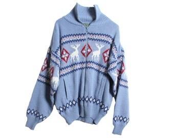 Vintage 80's Reindeer Sweater Jacket Light Blue Scandia Woods Size Medium