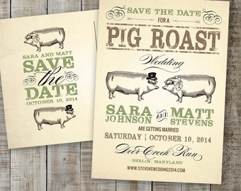 PRINTABLE PDF - Postcard Save the Date, Hog Roast, Pig Roast Wedding