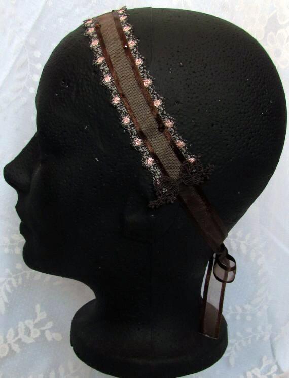 Brown and Pink Ribbon Headband, Lace Headband, Bridal Headpiece, Wedding Hair Band, Rhinestone Headband