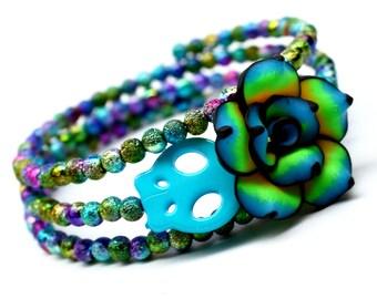 Blue Flower Sugar Skull Wrap Around Bracelet Day of the Dead Peacock Turquoise Jewelry Memory Bracelet Halloween Gift under 10