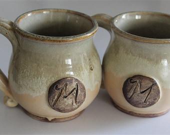 16 oz mug, Personalized pottery mug, Wedding gift, Customized gift, Stoneware wheel thrown, 473 mL, made to order