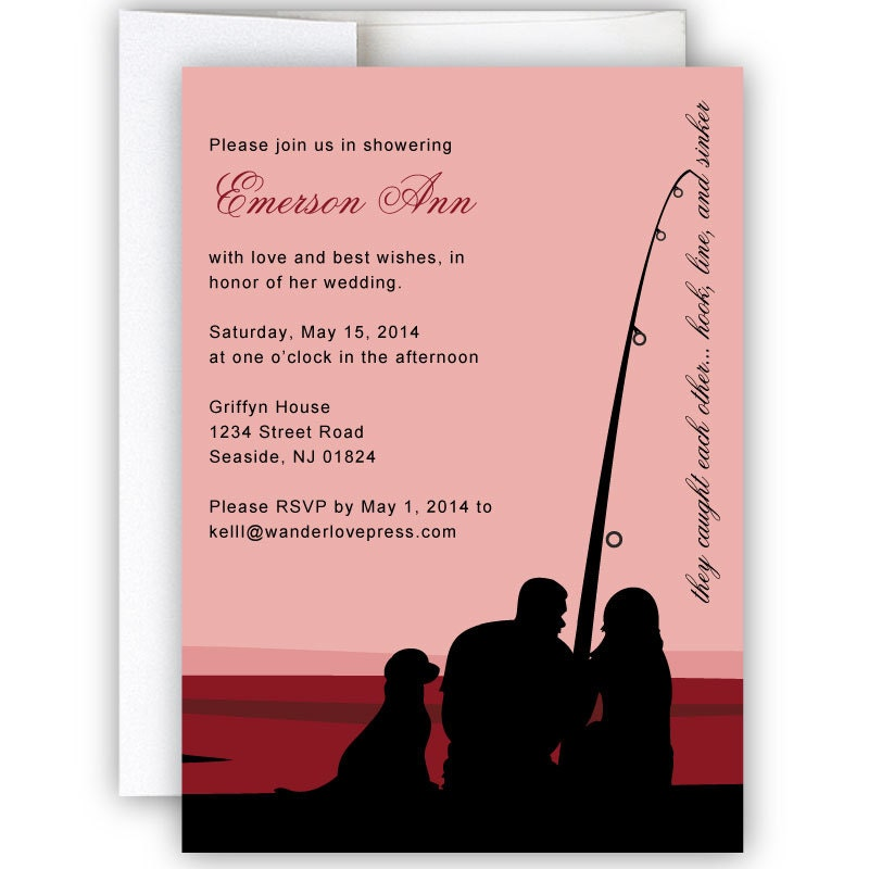 Fishing nautical bridal shower or wedding invitation for Fishing wedding invitations