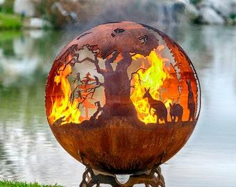 Down Under - Australian Fire Pit Theme - Custom Hand Cut Steel Sphere