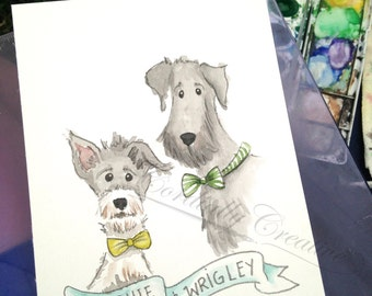 Custom Pet Portrait illustrated with watercolors, hand painted just for you! Great keepsake for yourself or unique gift idea