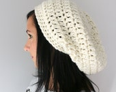 Ivory Hipster Super Slouchy Hat, Unisex Winter Hat