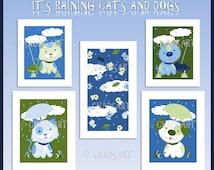 "KITTEN and PUPPY Nursery ART titled ""It's Raining Cats and Dogs"" Prints, Cat Art, Dog Art, Nursery Room Decor, Cute Nursery Animal Art"