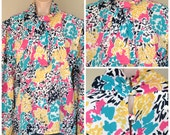 Vintage Abstract Floral Ascot Top Blouse size 22 XL 1X 2X