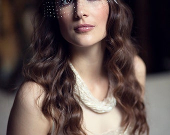 Gatsby style headpiece with glass beads, feathers, art deco accessory, 20's inspired handmade birdcage veil,  flapper style head piece