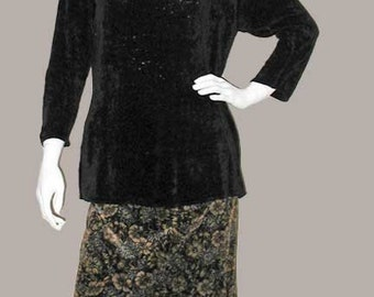 Laura Ashley Chocolate Rayon Chenille Tunic Sweater and Vintage Brown Floral Printed Cotton Velvet A-Line Skirt &