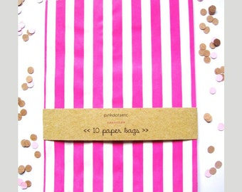 Candy Stripe Paper Bags - Set of 10 - Hot Pink - Glassine Paper Bags