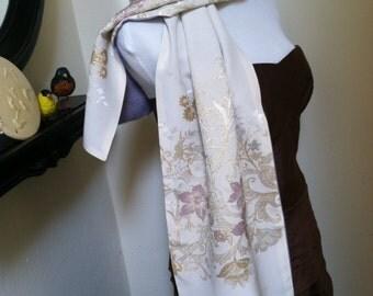 Vintage Embroidered Ivory Japanese Silk withSky Blue vintage Japanese Kimono Silk Scarf