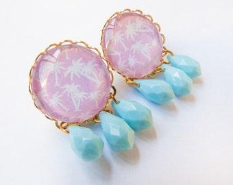 Pastel Palms Kitsch Earrings - Tropical Summer Big Studs Vintage Inspired - Pink Pattern Baby Blue - Soft Grunge Kitschy Kawaii