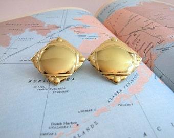 Vintage Monet Clip Earrings, Cushion Diamond Clip Earrings, Gold Tone, Glossy Ornate Tipped Square