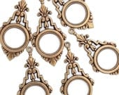 Art Deco Pendant or Earring Drops Open Circle Ox Brass Filigree Stamping 37mm x 18mm- Qty 6 Six Made in the USA