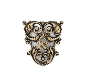 Ox Brass Victorian Style Filigree Weave Heraldry Shield 42mm Stamping Qty 1 Made in the USA Gold Brass from Dr Brassy Steampunk