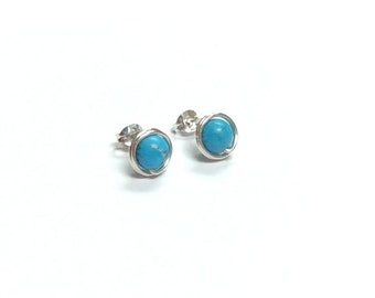 Turquoise gemstone stud earrings - 9mm Serling silver handmade studs - December birthstone - Healing stone - Free shipping to CANADA and USA