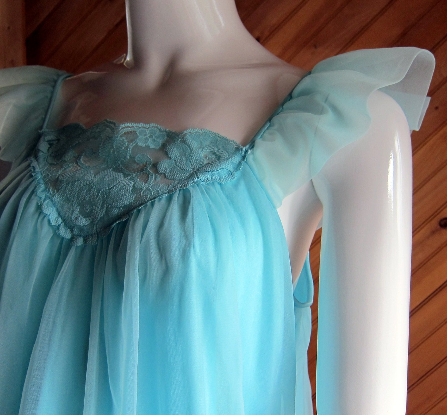 1950s Baby Doll Nightie Nightgown Aqua Vintage Lingerie