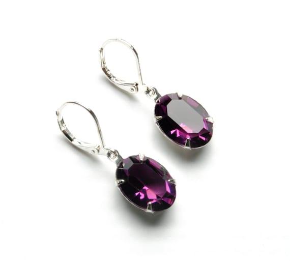 AMETHYST Earrings, PURPLE Earrings, Swarovski Earrings, Bridesmaid Earrings Vintage Earrings Victorian Jewelry By Victorian Curiosities